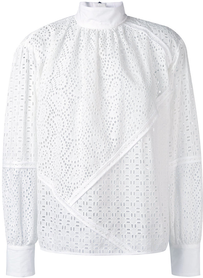 MSGM - high neck broderie blouse - women - Cotton - 40