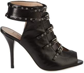 Stuart Weitzman Valentino Garavani Peep-Toe Leather Stiletto Booties