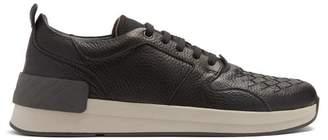 Bottega Veneta Intrecciato Leather Trainers - Mens - Black