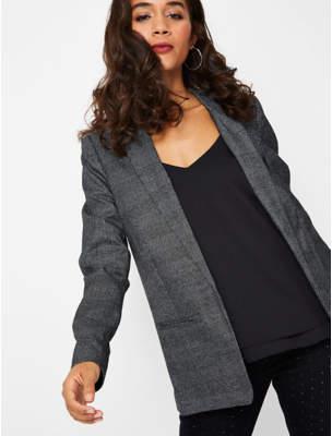 Blaze Grey Shimmering Check Woven Tailored Blazer