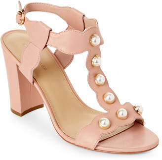 Marc Fisher Blush Kaylee Embellished Block Heel Sandals