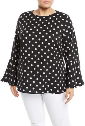 Neiman Marcus Bell-Sleeve Polka-Dot Blouse, Plus Size