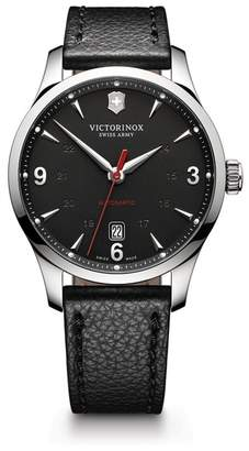 Victorinox Men's Alliance Automatic Round Leather Strap Watch, 40mm