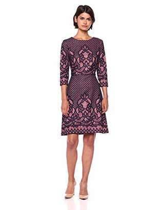 Gabby Skye Women's 3/4 Sleeve Round Neck Lace Fit & Flare Dress