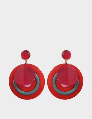 Giorgio Armani Plexi Earrings in Red Acetate