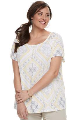 Croft & Barrow Plus Size Printed Smocked Top