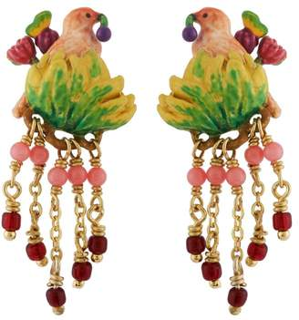 Les Nereides Lovely Canaries Pink Bird on Its Leafy Branch and Charms Earrings - Pink