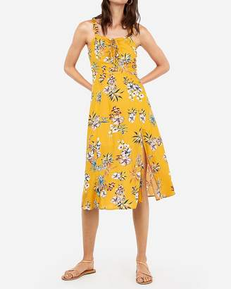 Express Floral Print Lace-Up Midi Dress