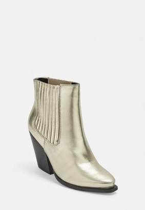Missguided Gold Curved Heel Western Chelsea Ankle Boots