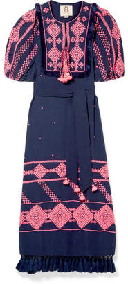 Figue Mela Tasseled Embroidered Cotton-voile Midi Dress - Navy