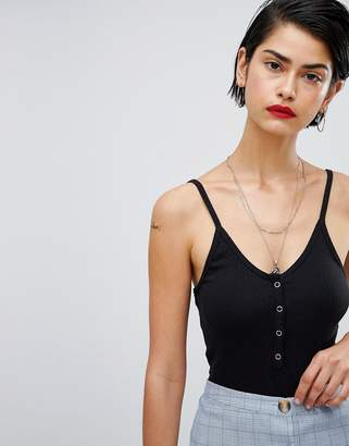 Missguided Cami Strap Popper Detail Body