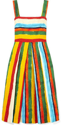 Dolce & Gabbana Pleated Striped Brocade Midi Dress - Mustard