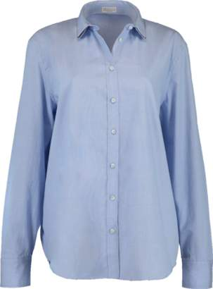 Brunello Cucinelli Double Collar Monili Chambray Blouse