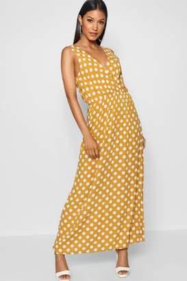 boohoo Large Scale Polka Dot Print Wrap Maxi Dress
