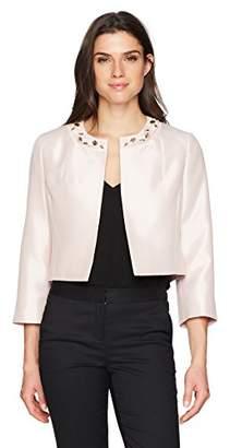 Kasper Women's Solid Kissing JKT W/Jewel Embellishment Collar