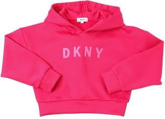 DKNY Cropped Logo Printed Sweatshirt Hoodie