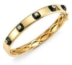 Maria Canale Pyramide 18K Yellow Gold, Diamond& Onyx Stackable Hinged Bangle