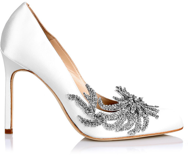 Manolo Blahnik Swan white satin pump