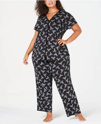 Charter Club Plus Size Cotton Knit Pajama Set