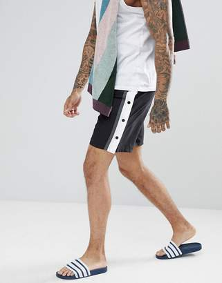Asos Design Swim Shorts In Monochrome With Side Poppers In Mid Length