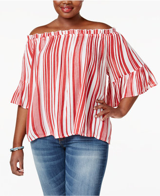 Planet Gold Trendy Plus Size Striped Off-The-Shoulder Top $39 thestylecure.com
