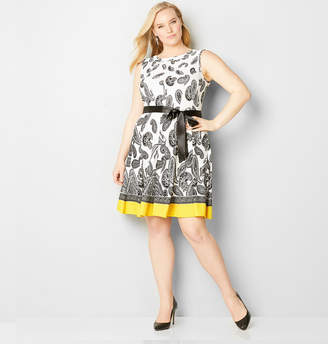 Avenue Paisley Textured Fit and Flare Dress