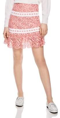 Sandro Devon Banded Floral-Lace Skirt