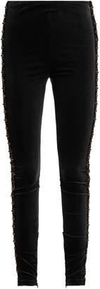 KOCHÉ Bead-embellished velvet leggings