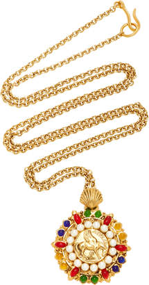 Gripoix Byzantine Signet Long Chain 24K Gold-Plated Brass and Poured Glass Pendant Necklace
