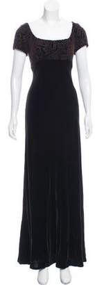 Carmen Marc Valvo Embellished Velvet Dress