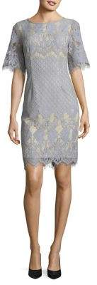Adrianna Papell Georgia Lace Bell Sleeve Sheath Dress