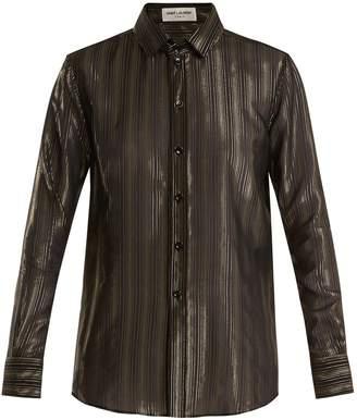 Saint Laurent Point-collar striped silk-blend blouse