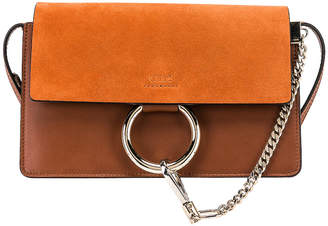 Chloé Small Faye Suede & Calfskin Shoulder Bag in Classic Tobacco | FWRD