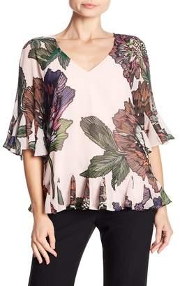 Badgley Mischka Floral Print Tie Back Blouse