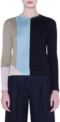 Akris Summer Intarsia Cashmere & Silk Cardigan
