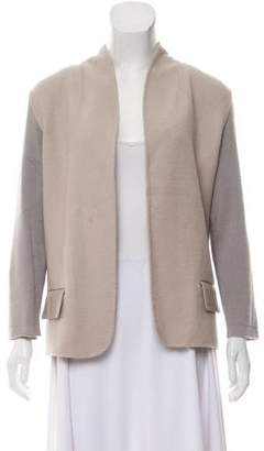 Halston Wool Collarless Cardigan