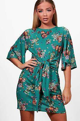 boohoo NEW Womens Tie Front Floral Shift Dress in