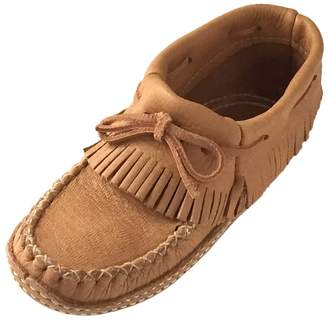 Bastien Industries Women's Fringed Moose Hide Leather Moccasins