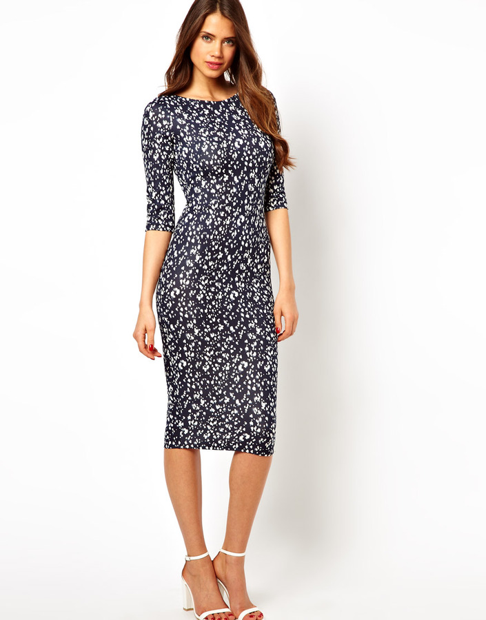 TFNC Midi Dress In Marble Print - Blue