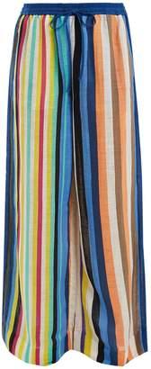 Diane von Furstenberg Wide-leg striped linen trousers