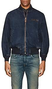Rrl Men's Cotton Bomber Jacket-Blue Size L
