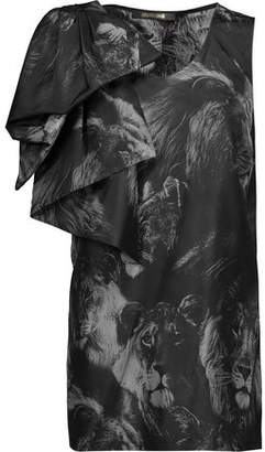 Roberto Cavalli Draped Printed Silk Top