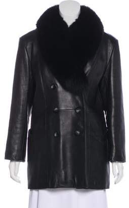 Neiman Marcus Leather Fur-Trimmed Coat