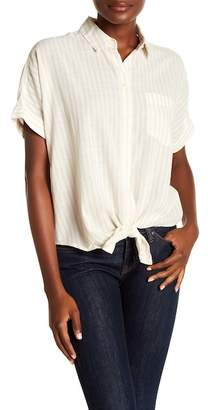 Madewell Striped Button Down Tie Front Top