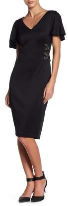 Sangria V-Neck Cross Lace Grommet Dress