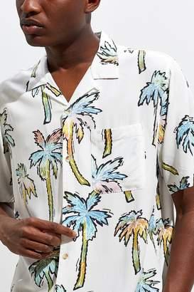 f7b2b8c5 Urban Outfitters Gradient Palms Rayon Short Sleeve Button-Down Shirt