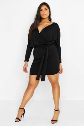 boohoo Plus Rib Kimono Sleeve Belted Dress