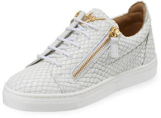 Giuseppe Zanotti Snake-Embossed Leather Low-Top Sneakers, Toddler/Kids