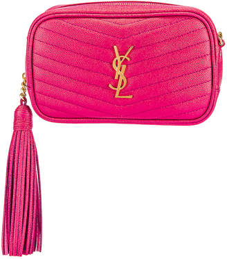 Saint Laurent Mini Lou Monogramme Bag in Fresh Fuchsia | FWRD