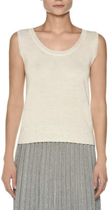 Agnona Sleeveless Crepe Cotton Top